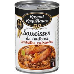 Saucisses de Toulouse aux lentilles cuisinées