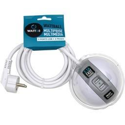 Multiprise Multimédia 2x16A + 1x6A + USB 2,1A blanc/gris