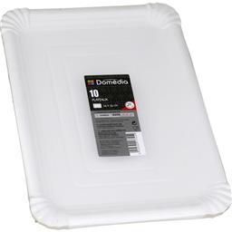 Assiettes carton rectangulaire 24x33 cm blanc