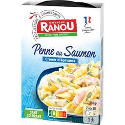 Penne au saumon crème d'épinards