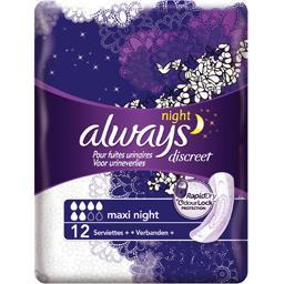 Serviettes discreet maxi night pour fuites urinaires et incontinence