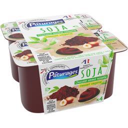 Pâturages Soja - Dessert végétal chocolat saveur noisette les 4 pots de 100 g