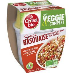 Plat Veggie & Complet - Pois cassés riz sauce Basquaise BIO