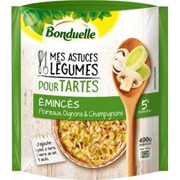 Légumes pour tartes émincés poireaux oignons champig...