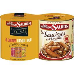 William Saurin Les Saucisses aux lentilles les 2 boites de 840 g
