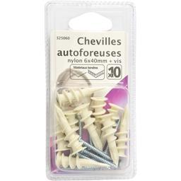 Chevilles autoforeuses nylon 6x40mm + vis