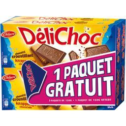 Delacre Délichoc - Biscuit chocolat au lait croustillant le lot de 4 boites de 150 gr