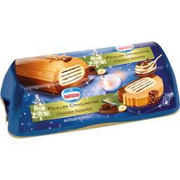 Bûche glacée feuilles craquantes chocolat noisettes