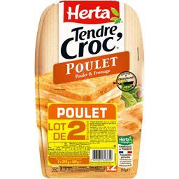 Herta Tendre Croque - Croque monsieur poulet & fromage le lot de 2 barquettes 210 g