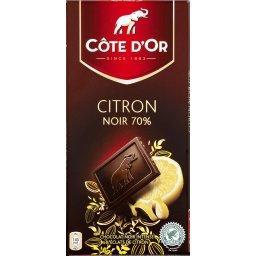 Dégustation Citron noir 70%, chocolat noir intense et éclats de citron, pur beurre de cacao
