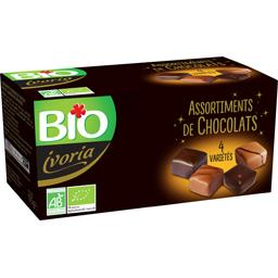 Bio Ivoria Assortiment de chocolats 4 variétés BIO la boite de 175 g
