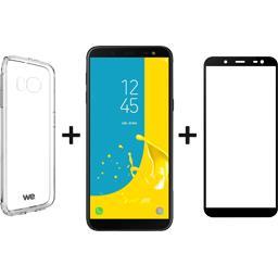Pack Galaxy J6 noir + coque + verre trempé