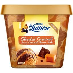 Crème glacée chocolat caramel sauce caramel beurre salé