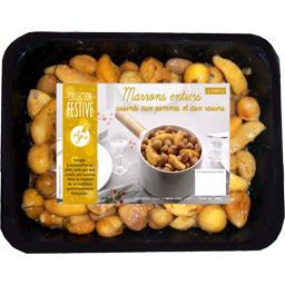 Marrons entiers cuisinés aux pommes et aux raisins