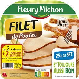 Fleury Michon Filet de poulet -25% de sel le lot de 2 barquettes de 4 tranches - 300 g