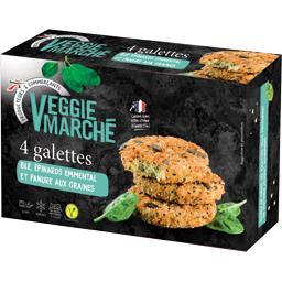 Veggie Marché Galettes blé épinards emmental la boite de 4 - 400 g