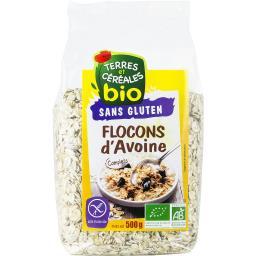 Terres et céréales bio Flocons d'avoine complets sans gluten BIO le paquet de 500 g
