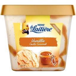 Crème glacée vanille coulis caramel