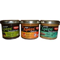 Assortiment Apéro tapenade noire/chorizo/thon poivre vert