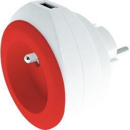 Chargeur USB 2,4 A + 16 A + câble coloris blanc/rouge