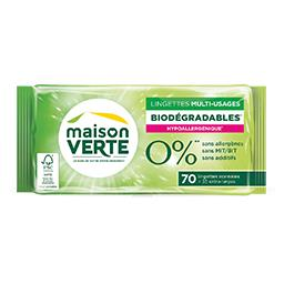 Lingettes multi-usages biodégradables 0%