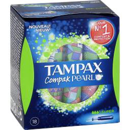 Tampons Compak Pearl Super avec applicateur x18 Tamp...