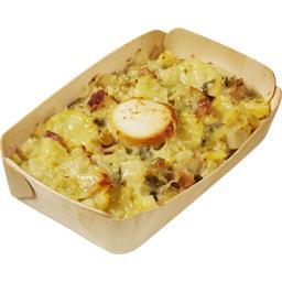 Gratin de pommes de terre et poireaux chèvre et lardons