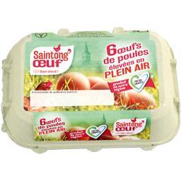 Oeufs de poules plein air moyen SAINTONG'OEUF boîte x6