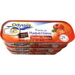 Odyssée Filets de maquereaux tomate & basilic les 3 boites de 169g
