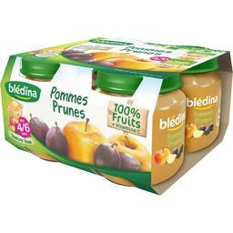 Pots fruits pomme prune,BLEDINA,le pack de 4x130 gr
