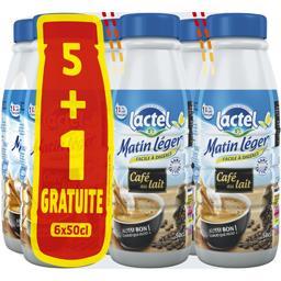Lactel Café au lait - Matin Léger les 5 bouteilles de 50 cl