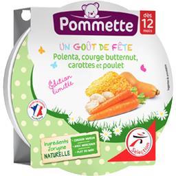 Pommette Polenta, courge butternut, carottes et poulet, dès 1... l'assiette de 230 g