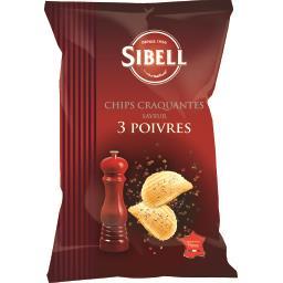 Chips ondulées saveur 3 poivres SIBELL, 120g