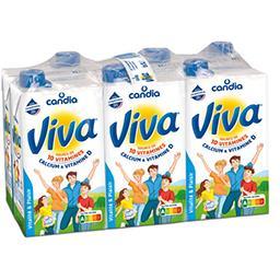 Viva, lait demi-écrémé stérilisé UHT, renforcé en vitamine D, 10 vitamines, 6 x 1l,CANDIA,les 6 briques de 1 l