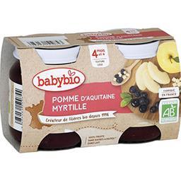 Desserts pomme d'Aquitaine & myrtille BIO, dès 4 moi...