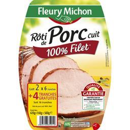 Fleury Michon Rôti de porc cuit 100% filet lot de 2x(6 tranches ) - 560 g