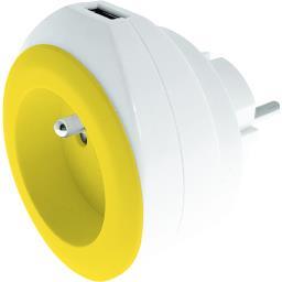 Chargeur USB 2,4 A + 16 A + câble coloris blanc/jaune