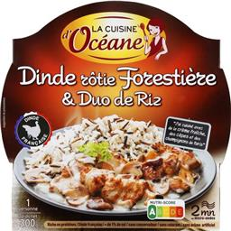 Dinde rôtie forestière & duo de riz