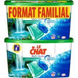 Le Chat Lessive Duo-Bulles Cascade de Fraîcheur les 2 boites de 30 doses - 1500 g -