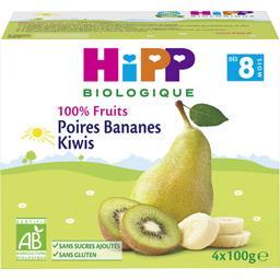 100% Fruits - Poires bananes kiwi BIO, dès 8 mois