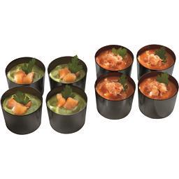 Mini-Cups saumon salade / crabe rillettes tomates
