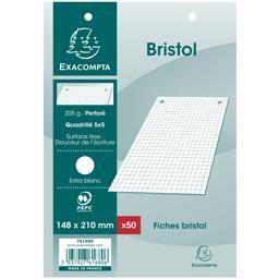 Fiches bristol blanches perforés 148x210 5x5 205 g