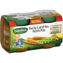 Blédina Purée de carottes petits pois, dès 6 mois les 2 pots de 130 g