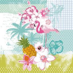 Serviettes 3 plis 33x33 cm Flamingo