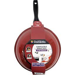 Poêle wok 28 cm acier émaillé, rouge