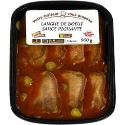 Langue de bœuf sauce piquante et ses cornichons