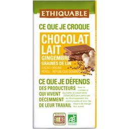 Chocolat au lait gingembre graines de lin BIO