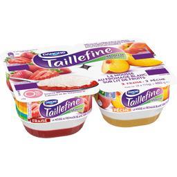 La Mousse au fromage blanc sur lit fruits fraise/pêc...