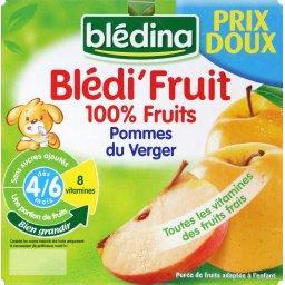 Blédi'Fruit - Purée pommes du verger, dès 4/6 mois,BLEDINA,les 8 pots de 100g