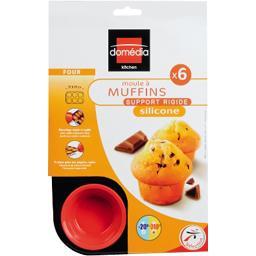 Moule à 6 muffins en silicone, support rigide, fushia